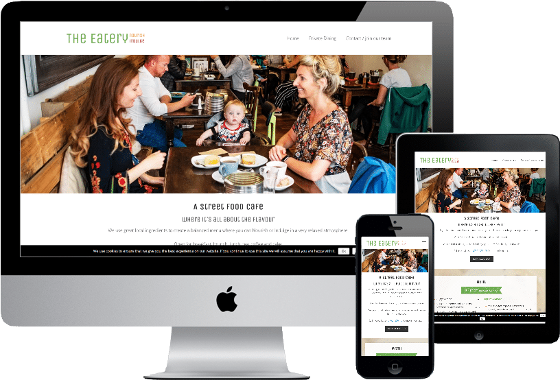 The Eatery cafe website design viewed on iMac, iphone and ipad