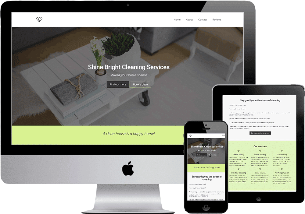 Shine Bright Cleaning Services Website mock up showing PC, tablet and phone versions