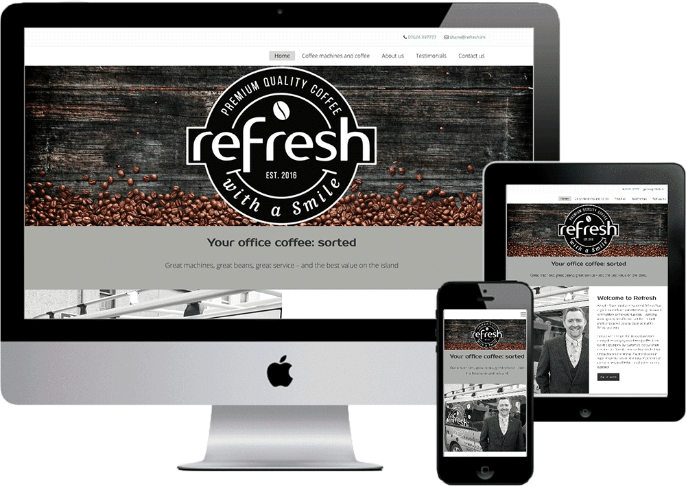 Refresh coffee company website mockup showing PC, tablet and phone versions