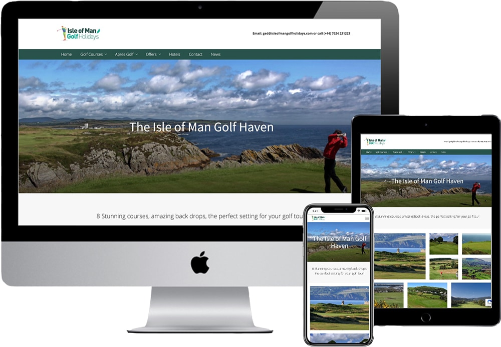 Isle of Man Golfing Holidays website mockup showing the website on an iMac, iPad and iPhone