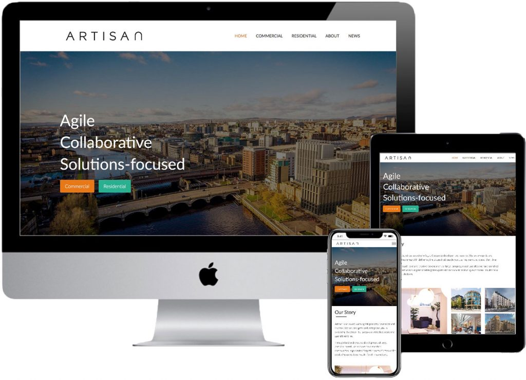 Artisan Real Estate website mockup showing the website on iMac, iPad and iPhone