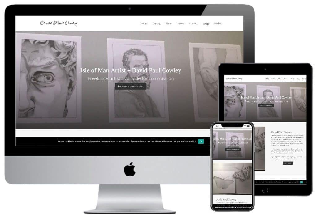 Mock-up of artist David Paul Cowley's website