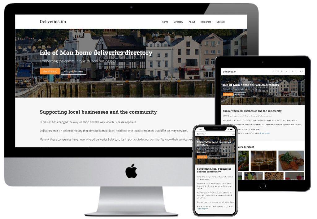 Mock-up of the deliveries website